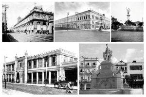 Obras impulsadas por Tacón y Villanueva. En el plano superior se pueden apreciar el mercado de Tacón, la nueva cárcel de La Habana y la fuente del Neptuno. En el plano inferior la estación de Villanueva y la fuente de la Noble Habana.