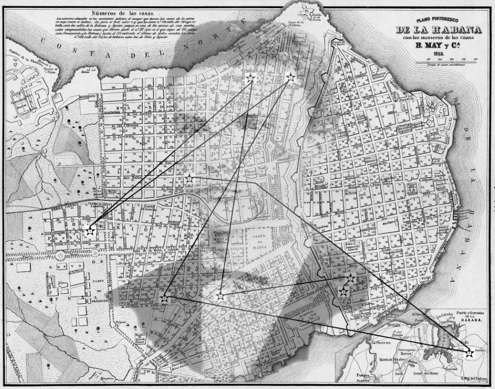 Plano de La Habana de 1853 que muestra los lugares donde vivió José Martí entre 1853 y 1870.