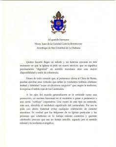 Carta a Mons. Juan del Papa Francisco