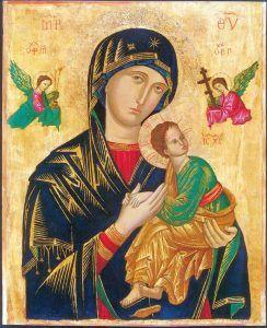 Santa María del Perpetuo Socorro. Patrona de las Misiones Redentoristas y de la República de Haití. El icono original, de origen desconocido, está en el altar mayor de la iglesia de San Alfonso, en Roma.
