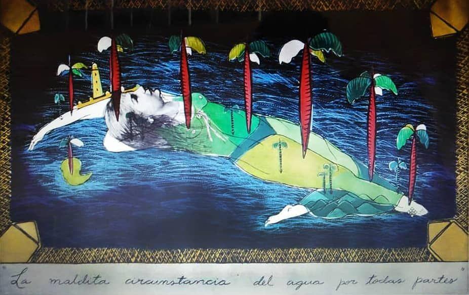 """Sandra Ramos Lorenzo (La Habana, 1969). """"La maldita circunstancia del agua por todas partes"""", 1993. Calcografía sobre papel; 682 x 988 mm. Arte Contemporáneo (1979-1996). Colección Arte Cubano."""